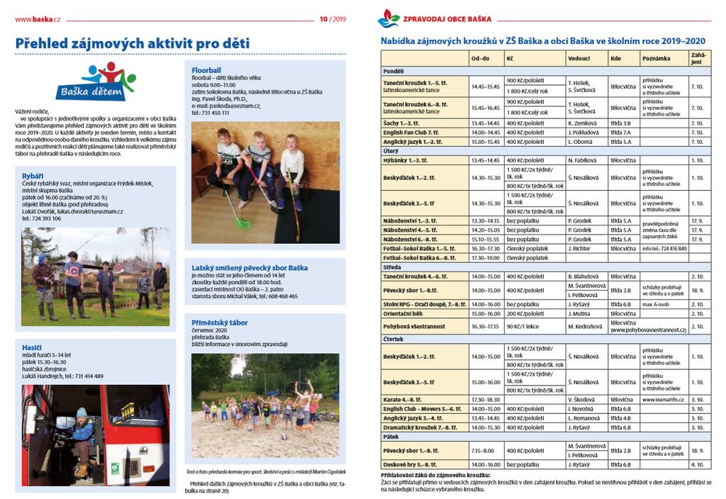 prehled zajmovych aktivit pro deti baska detem