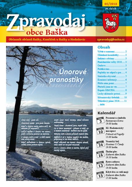 Zpravodaj obce Baška - Únor 2018